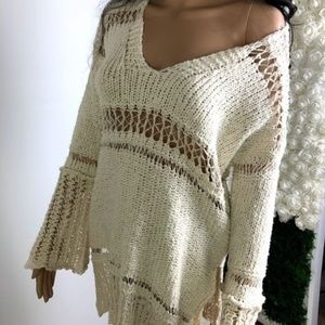 Free People Boho Ivory Bell Sleeve Sweater Small